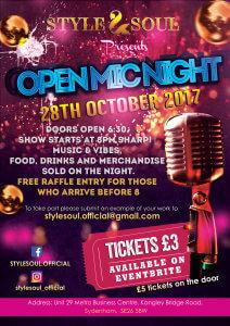 Open Mic 28th October Flyer
