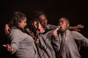 Left to right –GLITCH(Nadine Rose Johnson), GROVE (Beth Griffin),AMINITA (Aminita Francis), NATIVE(Nathaniel Forder-Staple)Photocredit Joyce Nicholls