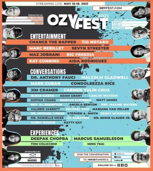 CHANCE THE RAPPER HEADLINES VIRTUAL OZY FEST FOR MAY 15-16 IN PARTNERSHIP WITH HBCUs, CLUBHOUSE